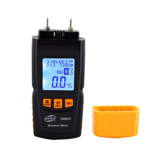 YIDA YD-620 Portable Digital Wood Moisture Meter Humidity Detector Tester Adjustable For 4 Tree Species With ATC Date Hold Function Wood Sawdust Powder Meter