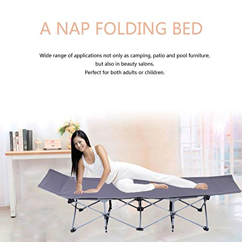 FGHGFCFFGH Outdoor Nap Folding Bed Camping Travel Mat Ultralight Single Bed Sturdy Comfortable Portable Sleeping Supplies Steel Frame Leg
