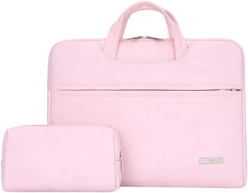 Pink Gray Color : Pink, Size : 13.3 inch GUODLIN Waterproof PU Leather Laptop Bag for 13.3 14 15 15.4 15.6 Inch Laptop Sleeve Case Blue