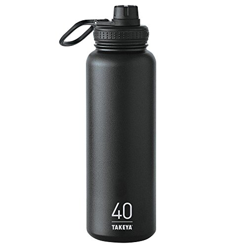 Takeya ThermoFlask Insulated Stainless Steel Water Bottle, 40 oz, Asphalt