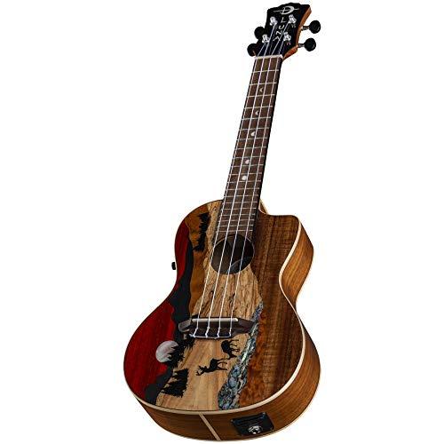 Luna Guitars Vista Deer, 4-String Concert Acoustic/Electric Ukulele, Right (UKEVISTADEERC)