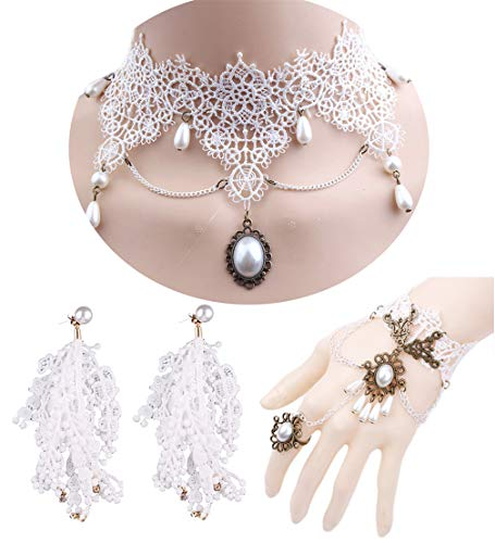 FUNDAISY Halloween Gothic Lace Necklace Earring Bracelet Pendant Choker Set (White #1) ()