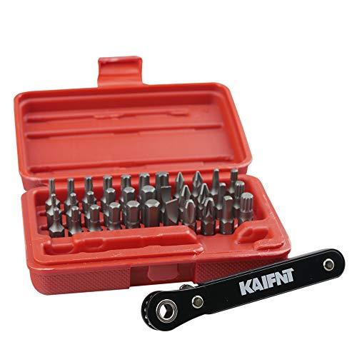 KAIFNT K402 Screwdriver Bit Set with Mini Ratchet Wrench, 1/4-Inch Drive, 34-Piece (Best Mini Ratchet Set)