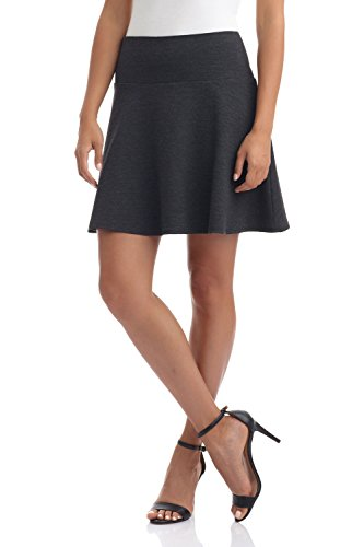 Rekucci Women's Ease In To Comfort Wide Waist Flared Flippy Skirt Luxe Ponte (Large,Charcoal) (Line Wide Waistband)