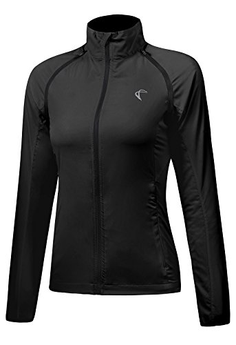 Shelcup Women's Windproof Water Resistant Convertible Cycling Running Jacket (Black 1, L)