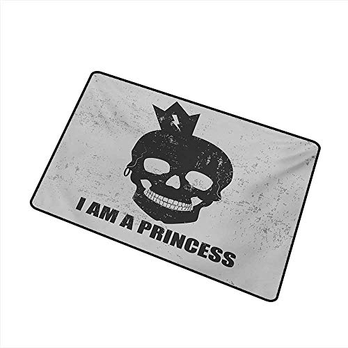 Interior Door mat I am a Princess Skull with a Crown Skeleton Halloween Theme Grunge Look W35 xL47 Suitable for Outdoor and Indoor use
