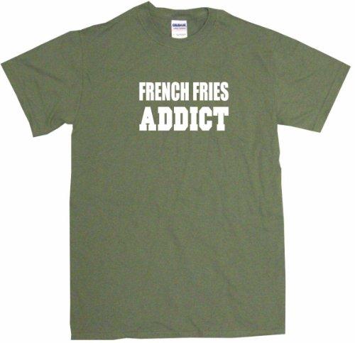 French Fries Addict Big Boy's Kids Tee Shirt Youth XL-Olive