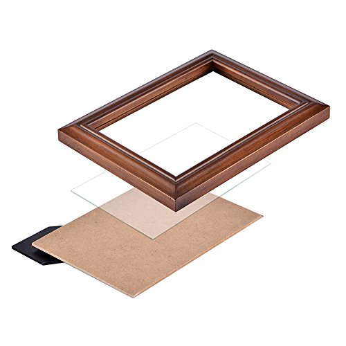 RPJC 8x10 Picture Frames Made of Solid Wood High Definition Glass for Table Top Display and Wall mounting photo frame Brown by RPJC (Image #6)