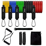 UPOWEX Resistance Bands Set - Include 5 Stackable Exercise Bands with Carry Bag, Door Anchor Attachment, Legs Ankle Straps, Foam Handles and Workout Guide