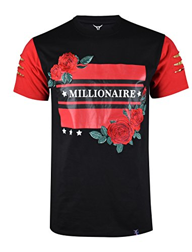 SCREENSHOTBRAND-S11847 Mens Hipster Hip-Hop Premium Tees - Stylish Longline Fashion Jersey T-Shirt Rose Embroidered Detailed-Black-Large Big Brother Embroidered T-shirt