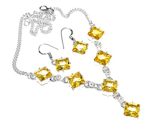 - SILVERART Sterling Silver Plated Handmade Citrine Necklace Set for Womens and Girls