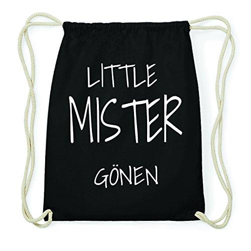 JOllify GÖNEN Hipster Turnbeutel Tasche Rucksack aus Baumwolle - Farbe: schwarz Design: Little Mister wVDlkrXL