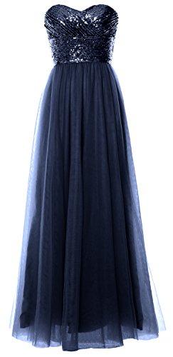 Les Femmes Macloth Robe De Demoiselle D'honneur Longue Bustier Sequin Fête De Mariage Robe Formelle Marine Foncé