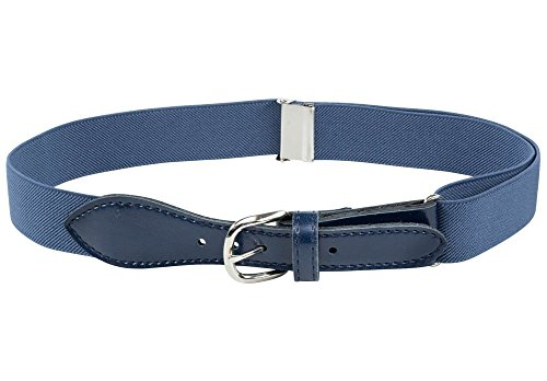 Denim Girls Belt - Kids Elastic Adjustable Strech Belt with Leather Closure - Denim Blue