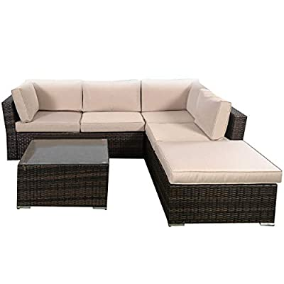 Tangkula 4 Piece Furniture Set Patio Outdoor Deck Lawn Backyard Durable Steel Frame PE Rattan Wicker Sectional Sofa Set, Conversation Set with Coffee Table (Brown) - 【Concise Appearance】It is made up with solid steel frame and PE wicker with sponge cushions ensuring a long lifetime. Its stylish armrests and moderate-reclining backrest double the comfort for you to totally relax yourself and make it more eye-catching. 【Easy Carry】Made of lightweight rattan material, it can be carried easily and labor-efficiently to the desired place. Its compact structure and beautiful texture can surprisingly highlight your patio or poolside deco. 【Moment to Clean】Table with removable tempered glass adds a sophisticated touch and allows you to places drinks, meals and other accessories on top. And you can clean it easily with just a wipe when there is water strain on it. The separable seat cushion also enables you a quick wash. - patio-furniture, patio, conversation-sets - 416O%2BvcOYAL. SS400  -