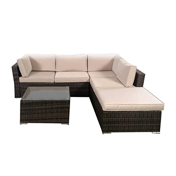 Tangkula 4 Piece Furniture Set Patio Outdoor Deck Lawn Backyard Durable Steel Frame PE Rattan Wicker Sectional Sofa Set, Conversation Set with Coffee Table (Brown) - 【Concise Appearance】It is made up with solid steel frame and PE wicker with sponge cushions ensuring a long lifetime. Its stylish armrests and moderate-reclining backrest double the comfort for you to totally relax yourself and make it more eye-catching. 【Easy Carry】Made of lightweight rattan material, it can be carried easily and labor-efficiently to the desired place. Its compact structure and beautiful texture can surprisingly highlight your patio or poolside deco. 【Moment to Clean】Table with removable tempered glass adds a sophisticated touch and allows you to places drinks, meals and other accessories on top. And you can clean it easily with just a wipe when there is water strain on it. The separable seat cushion also enables you a quick wash. - patio-furniture, patio, conversation-sets - 416O%2BvcOYAL. SS570  -