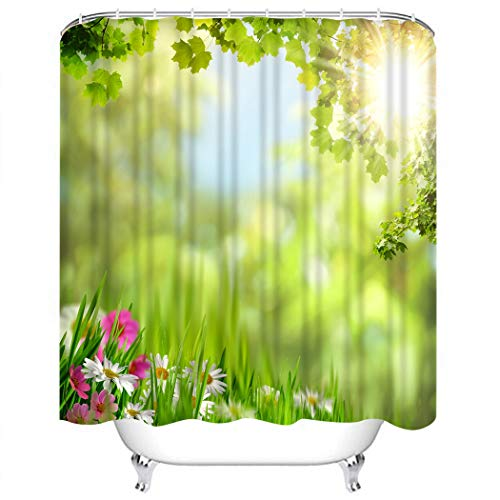 Wesbin Shower Curtain Set Green Flower Maple Leaves Abstract Natural Colorful Leaf Bathroom Decor Set with 12 Hooks 72X78 Inches Waterproof Polyester Fabric Shower Curtain for Bathroom - Maple Field Target
