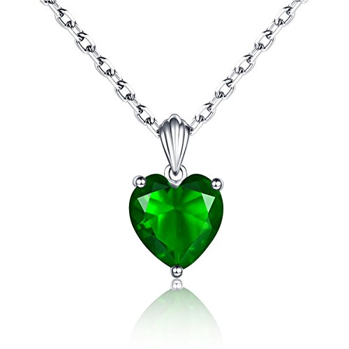 (Solid 925 Silver Heart Created Green Emerald Pendant Necklace for Women 18