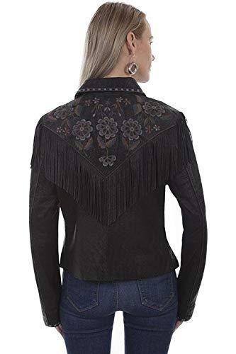 (Lara Lea Leather & More, LLC Embroidered Fringe Suede Jacket - S, Vintage Black)