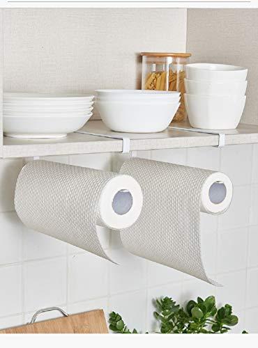 2pcs Paper Towel Holder Dispenser Under Cabinet Paper Roll Holder Rack Without Drilling For Kitchen Bathroom Bathroom Fixtures
