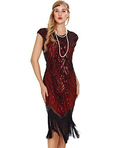Uniq Sense Women's 1920s Flapper Dresses - Sequined Beaded Fringed Emblished Great Gatsby Dresses (S, Wine Red) ()