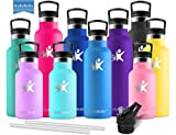 KollyKolla Vacuum Insulated Water Bottle Metal Water Bottles with Straw & Filter Hot & Cold Drinks...