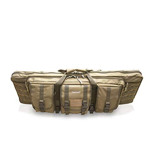 YONGCUN Gun Bag Gun Case Double Rifle Bag Tactical Bag Carbine Cases Long Gun Case Bag Tactical Gun Bag 36inch Tan 600D Waterproof PVC
