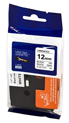 Compatible Label Tape Black On White 12MM 8M Replacement For Brother (Part Number: Tze 231) For Brother Gl-100 Pt-1000 Pt-1000BM Pt-1010 Pt-1010B Pt-1010NB Pt-1010R