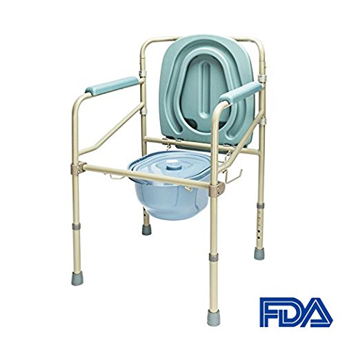 Mefeir Commode Toilet Chair Heavy Duty 330LBS, FDA Medical Supply Folding with Safety Frame Rails Bedside, for Senior 3 In 1 Upgraded (Blue Grey)
