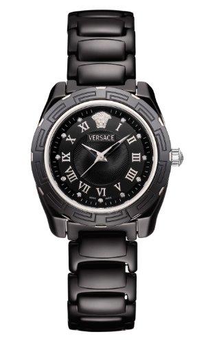 Versace Women's 63QCS9D009 SC09 DV One Black Dial Sapphire Crystal Black Ceramic Diamond Watch