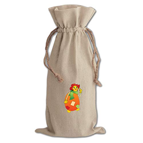 - Scarecrow Cartoon Character Cotton Canvas Wine Bag, Cotton Drawstring