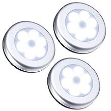 Fosa 3Pcs Wireless PIR Automatic Motion Sensor Night Light 6 LED Round Body Battery Powered Lamp