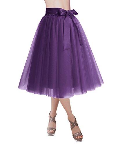 DRESSTELLS Knee Length Tulle Skirt Tutu Skirt Evening Party Gown Prom Formal Skirts Grape L-XL