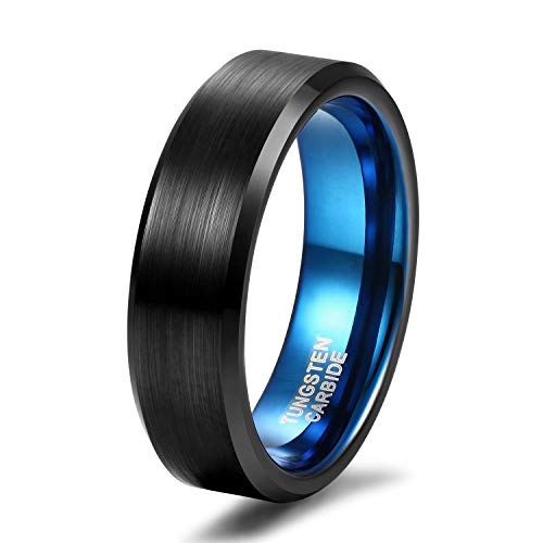 Quality Tungsten Ring - Shuremaster Mens Wedding Bands 6mm Tungsten Carbide Ring Black Blue Two Tone Comfort Fit Size 10.5