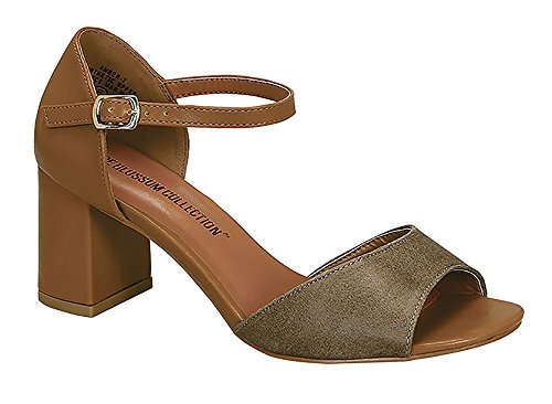 Women's Amber-2 Chic Ankle Strap Chunky Block Heel Fomal Dress Sandals Taupe 9