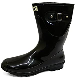 Generic Damen Flache Gummistiefel Gummi Regen Wade Wandern Fest Stiefel Größe 4-8 - Schwarz Grau, EU 37 - UK 4