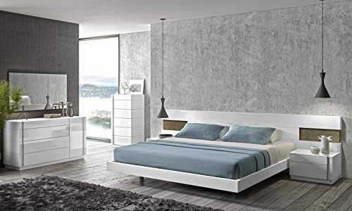 J&M Furniture 17869-K Amora King Size Bedroom set - White Lacquer & Stone -