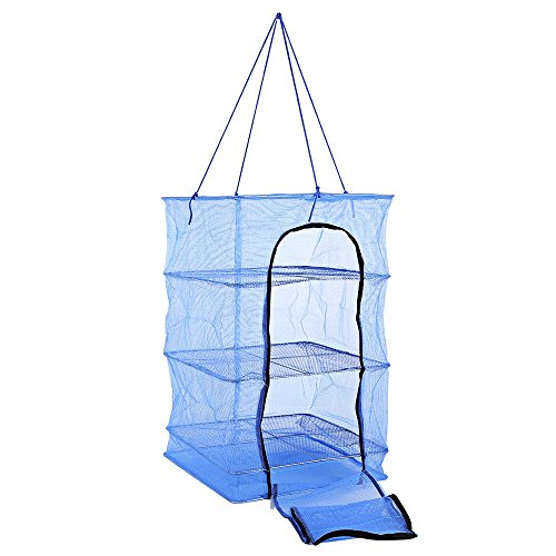 Food Dehydrator 3 Tray Hanging Drying Net / Non Electric / For Drying Herbs , Fruits , Vegetables , Fish (14 x 14 x 21.5 Inches, Blue)