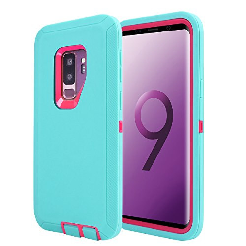 Galaxy S9 Plus Shockproof Case, AICase Daul Layer Armor [Full Body] [Heavy Duty Protection ] Rugged Shock Reduction/Bumper Case Samsung Galaxy S9+ (Light Blue+Rose)