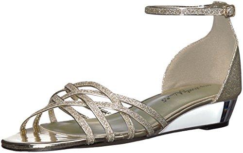 Sandale De Coin Tarrah De Femmes Facile De Rue, Des Paillettes D'or Verni Blanc / Blanc