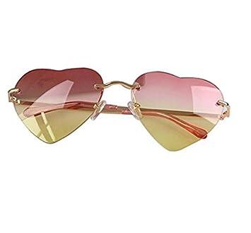 BRZM Moda Mujer en Forma de corazón Gafas de Sol sin Montura ...