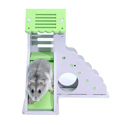 (Hamster Sleeping Nest Color Small House Toy Small Animal Nest Toy Double-layer Bungalow Villa Balcony Hamster Cage Supplies)