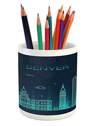 Ambesonne Colorado Pencil Pen Holder, Denver Metropolis View with Historical Landmark Digital Doodle Style Graphic, Printed Ceramic Pencil Pen Holder for Desk Office Accessory, Night Blue Aqua (Denver Bars Patio)