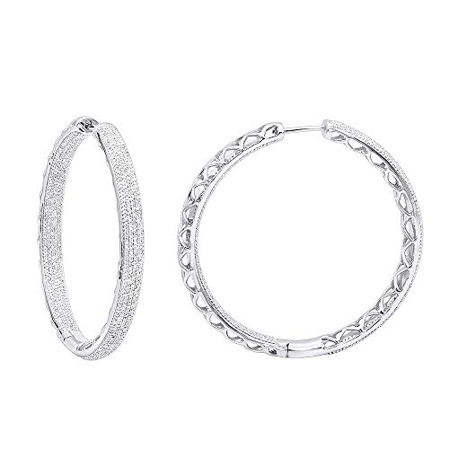 - 14k Gold Large Diamond Hoop Earrings Inside Out Pave Setting 3.5ctw (White Gold)