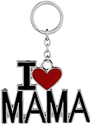 Luckiests Llavero Colgante Papa Mama Corazón Palabra Llavero Key Holder Regalo Pareja decoración Accesorios Familia