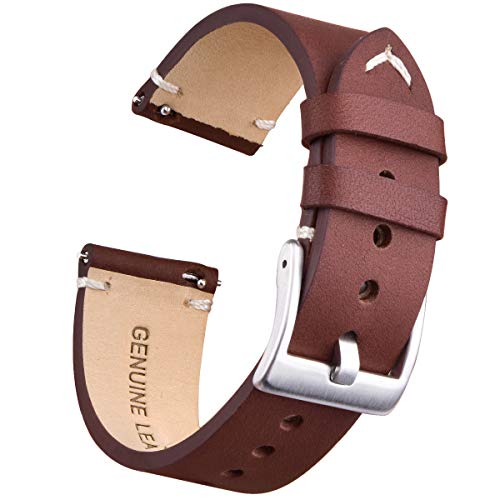- 22mm Genuine Leather Watch Bands Quick Release Leather Watch Straps Compatible with Fossil Watch for Men