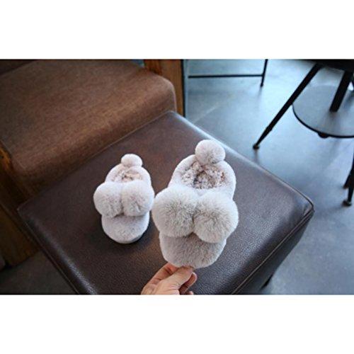 Tinksky Kinder Hausschuhe Pantoffeln Winter Warme für Kleinkinder Jungen Mädchen Größe 18-19 mit 16cm innen (hellgrau)