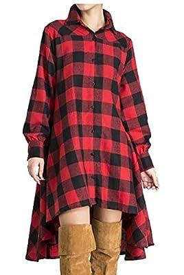 WSPLYSPJY Women Short Sleeve Belted Button Down Plaid Tunic Shirt Dress