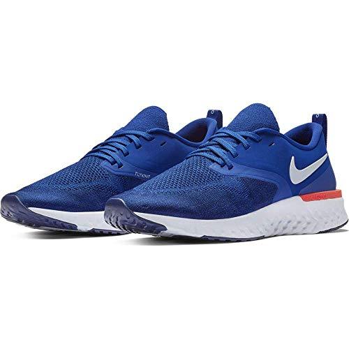 Nike Men's Odyssey React 2 Flyknit Indigo Force/White/Blue Void/Red Orbit Mesh Running Shoes 9.5 M US ()