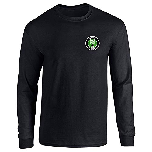 Pop Threads Playera de Manga Larga del Equipo Nacional de fútbol de Nigeria Retro, Negro, Large